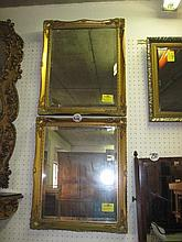 Pair Gilt Framed Bevelled Wall Mirrors