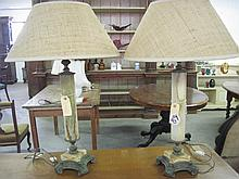 Pair Gilded Marble Lamps
