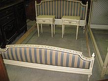 French Upholstered Bed & 2 Pedestals