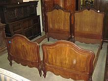 Pair of 19thC French Walnut Single Beds