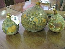 3 Hand Carved Gourds