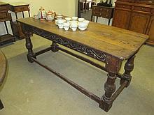 18thC Oak Plank Top Refectory Table