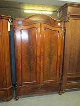 19thC Dutch Flame Mahogany Wardrobe