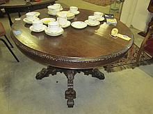 19thC Oak Carved Breakfast Table