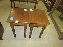 Pair Oak Side Tables