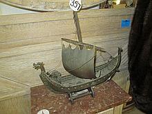 Vintage Metal Viking Ship Model