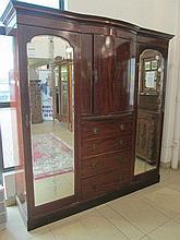 Victorian Mahogany Inlaid Triple Wardrobe