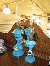 2 Blue Glass Oil Lamps
