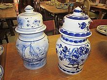 2 Blue & White Ginger Jars