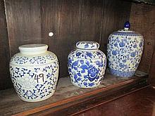 3 Blue & White Ginger Jars