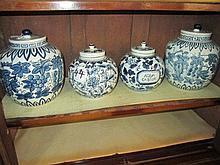 4 Blue & White Jars