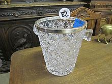 Crystal Silver Plated Rim Ice Bucket