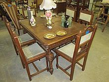 Oak Carved 7 Piece Dining Suite