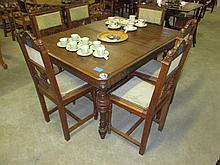 7 Piece Oak Carved Dining Suite