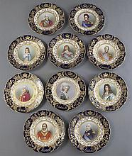(10) Sevres style porcelain cabinet plates