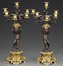 Pr. Picard gilt and patinated bronze candelabra