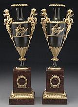 Pr. Belle Epoque gilt and patinated bronze urns