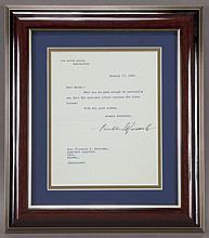 Franklin D. Roosevelt typed letter signed,