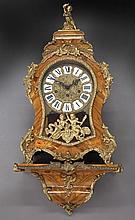 Italian floral inlaid bracket clock with ormolu