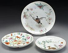 (3) Qing dynasty Chinese export porcelain saucers