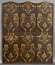 (3) Arts & Craft polychrome leather panels