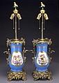 Pr. Sevres style porcelain lamps,