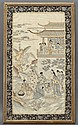 Chinese Qing kesi framed embroidered panel