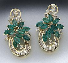 Retro 14K gold, emerald and diamond earrings