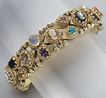 Retro 14K, cameo and mixed stone bracelet
