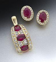 2 pcs. 18K gold, diamond and ruby jewelry