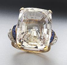 Art Deco 14K gold, sapphire and diamond ring