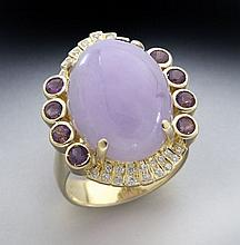 18K gold, lavender jade, amethyst and diamond ring