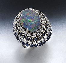 Retro 14K, opal triplet, diamond and sapphire ring