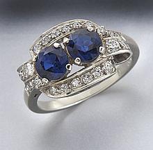 Retro 14K gold, diamond and sapphire ring