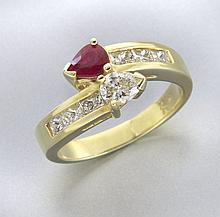 Honora 18K gold, diamond and ruby ring