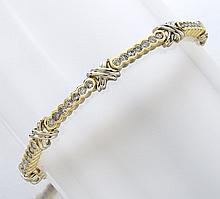 14K gold and diamond line bracelet