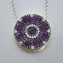 18K gold, amethyst and diamond pendant,