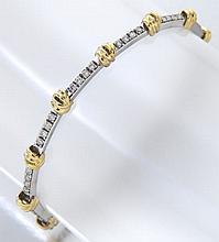 14K gold and diamond line bracelet