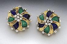Italian 18K gold, enamel and diamond earrings