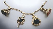 14K gold signet fob charm and watch key bracelet