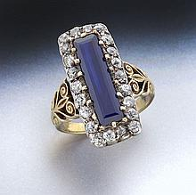 Victorian 18K, silver, sapphire, diamond ring