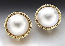 14K gold and mabe pearl earrings