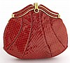 Judith Leiber red snake skin clutch