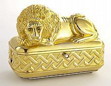 Judith Leiber gold tone lion minaudiere