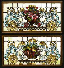 Pr. American stained glass grape pattern windows