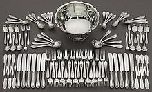 91 Pcs. Simpson Hall Miller sterling flatware,