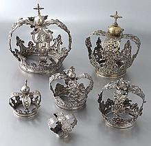 (5) Silver & (1) Silverplate Santos Crowns