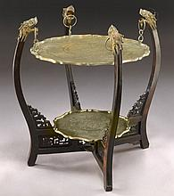 Chinese carved wood and brass table