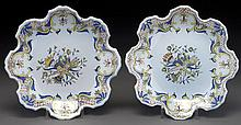 Pr. PB Quimper plates with crenelated rim