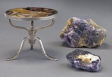 3 Pcs. Blue John inclu.: (1) miniature table